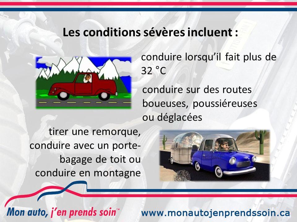 conduire lorsquil fait plus de 32 °C Les conditions sévères incluent : tirer une remorque, conduire avec un porte- bagage de toit ou conduire en montagne conduire sur des routes boueuses, poussiéreuses ou déglacées
