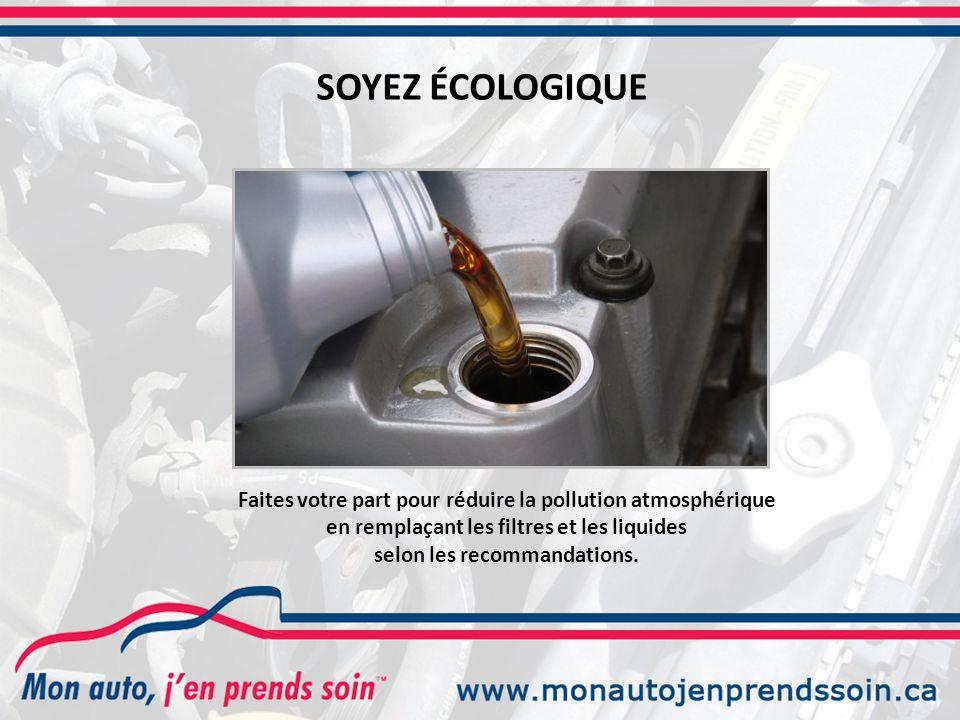 SOYEZ ÉCOLOGIQUE Faites votre part pour réduire la pollution atmosphérique en remplaçant les filtres et les liquides selon les recommandations.