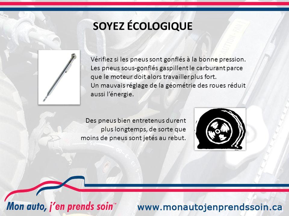 Des pneus bien entretenus durent plus longtemps, de sorte que moins de pneus sont jetés au rebut.