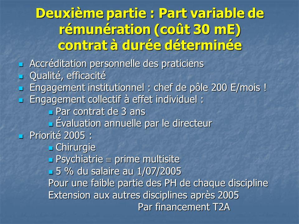 Deuxième partie : Part variable de rémunération (coût 30 mE) contrat à durée déterminée Accréditation personnelle des praticiens Accréditation personnelle des praticiens Qualité, efficacité Qualité, efficacité Engagement institutionnel : chef de pôle 200 E/mois .