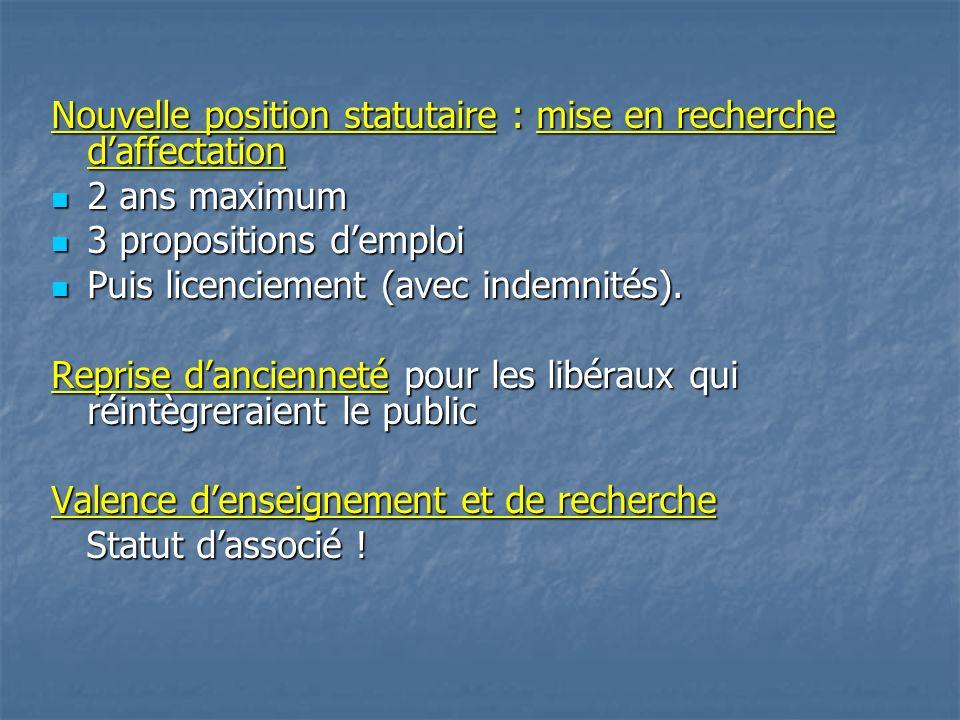 Nouvelle position statutaire : mise en recherche daffectation 2 ans maximum 2 ans maximum 3 propositions demploi 3 propositions demploi Puis licenciement (avec indemnités).
