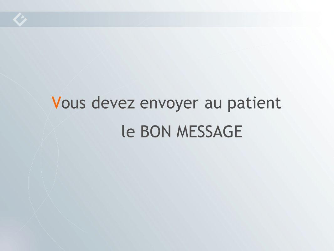 Vous devez envoyer au patient le BON MESSAGE