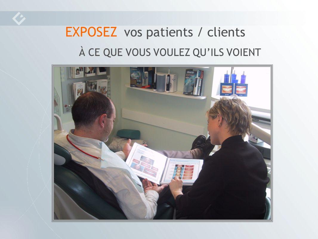 EXPOSEZ vos patients / clients À CE QUE VOUS VOULEZ QUILS VOIENT