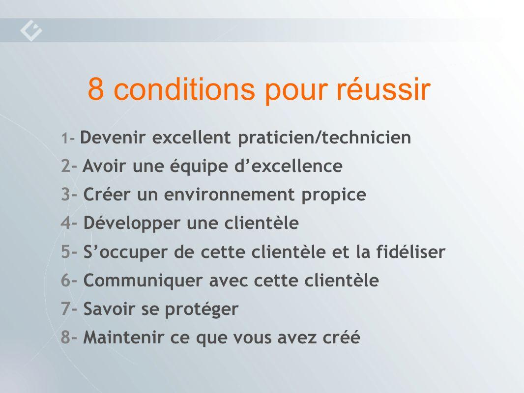 1- Devenir excellent praticien/technicien 2- Avoir une équipe dexcellence 3- Créer un environnement propice 4- Développer une clientèle 5- Soccuper de cette clientèle et la fidéliser 6- Communiquer avec cette clientèle 7- Savoir se protéger 8- Maintenir ce que vous avez créé 8 conditions pour réussir
