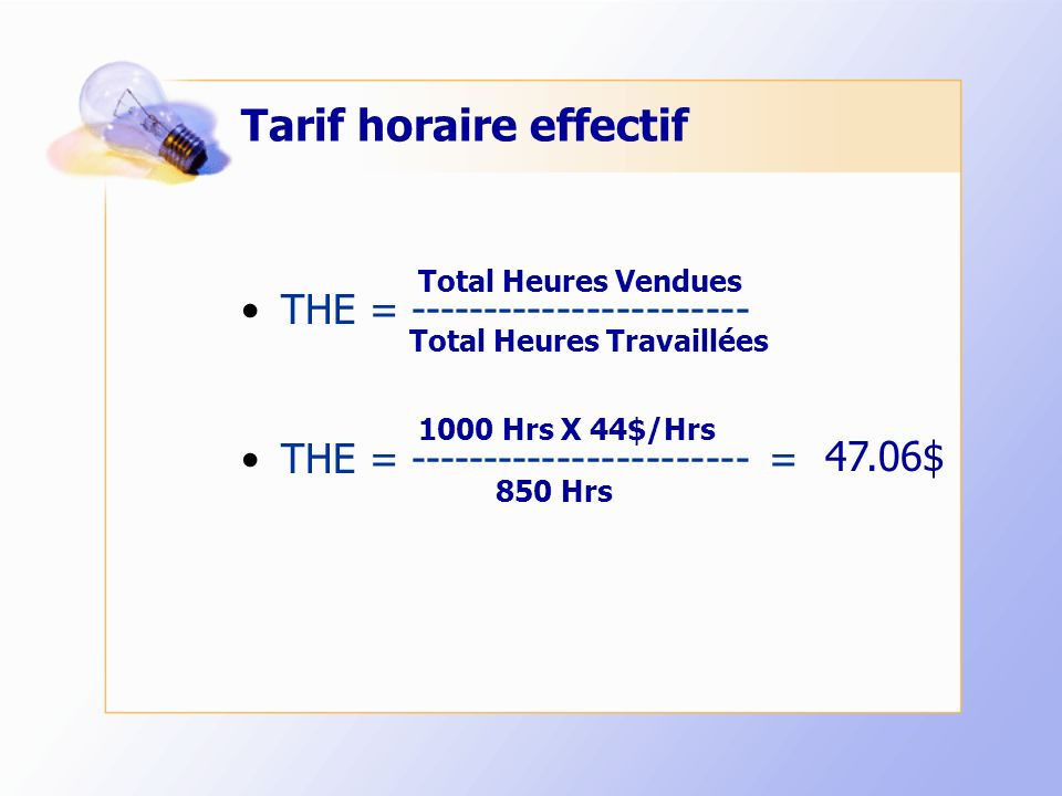 Tarif horaire effectif THE = ----------------------- THE = ----------------------- = Total Heures Vendues Total Heures Travaillées 850 Hrs 1000 Hrs X 44$/Hrs 47.06$