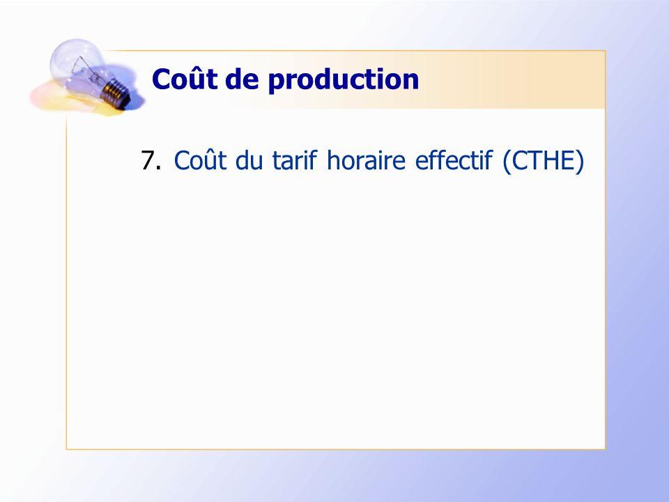 Coût de production 7.Coût du tarif horaire effectif (CTHE)