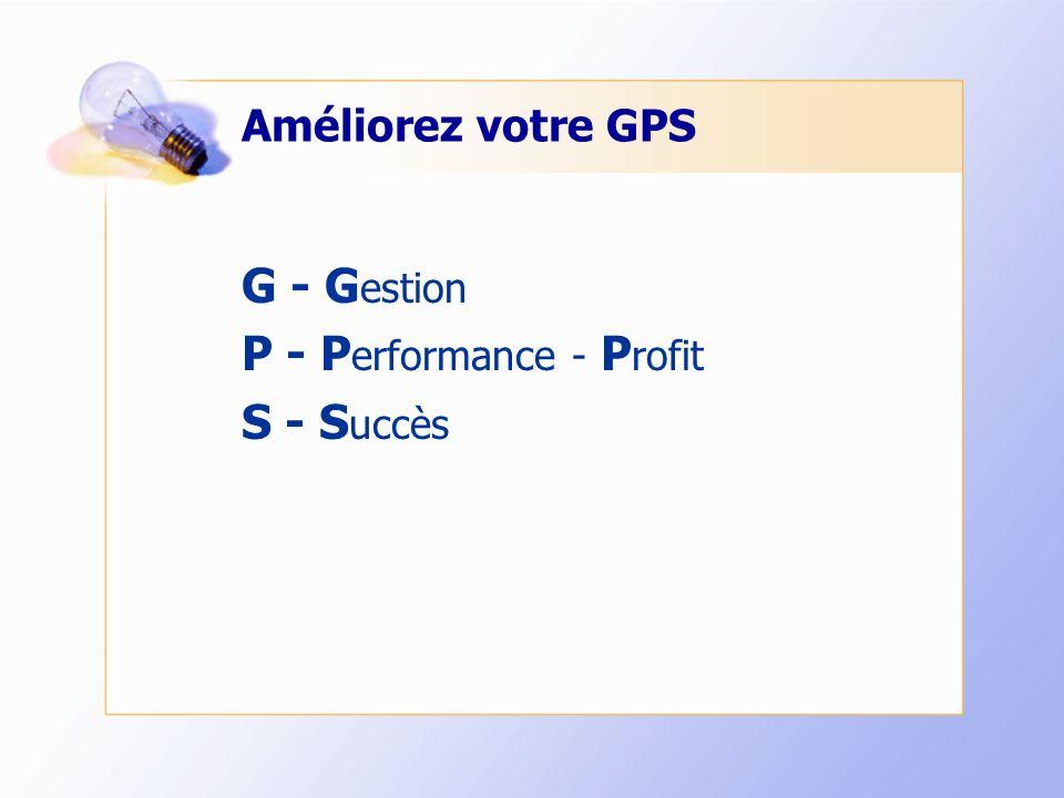 Améliorez votre GPS G - G estion P - P erformance - P rofit S - S uccès