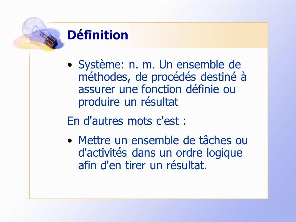 Définition Système: n. m. Un ensemble de méthodes, de procédés destiné à assurer une fonction définie ou produire un résultat En d'autres mots c'est :