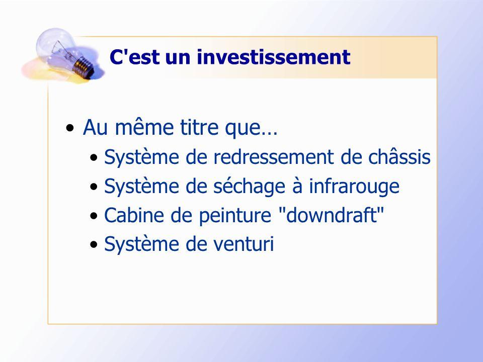 C est un investissement Au même titre que… Système de redressement de châssis Système de séchage à infrarouge Cabine de peinture downdraft Système de venturi