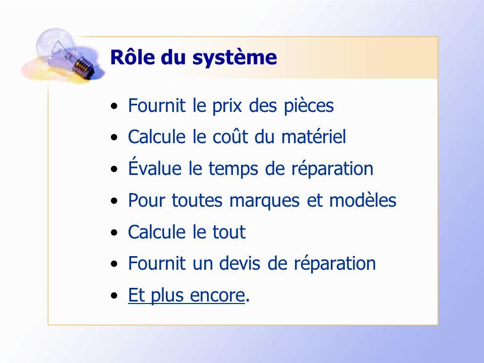 Rôle du système Fournit le prix des pièces Calcule le coût du matériel Évalue le temps de réparation Pour toutes marques et modèles Calcule le tout Fo