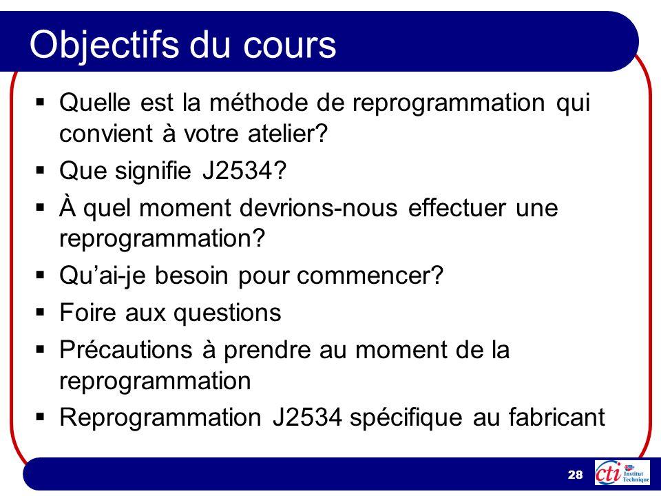 28 Objectifs du cours Quelle est la méthode de reprogrammation qui convient à votre atelier? Que signifie J2534? À quel moment devrions-nous effectuer