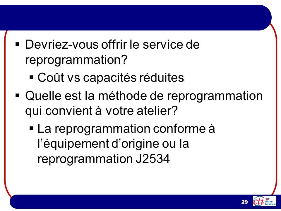 29 Devriez-vous offrir le service de reprogrammation.