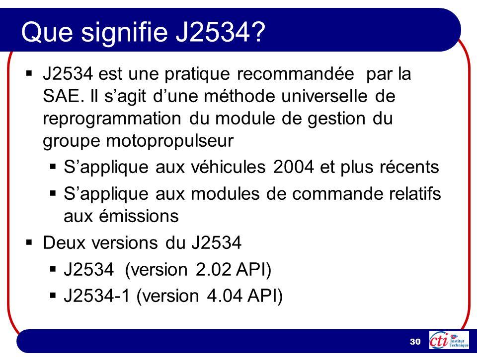 30 Que signifie J2534? J2534 est une pratique recommandée par la SAE. Il sagit dune méthode universelle de reprogrammation du module de gestion du gro