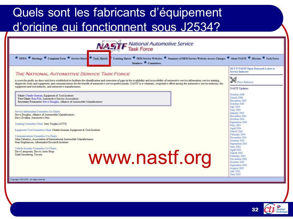 32 Quels sont les fabricants déquipement dorigine qui fonctionnent sous J2534? www.nastf.org