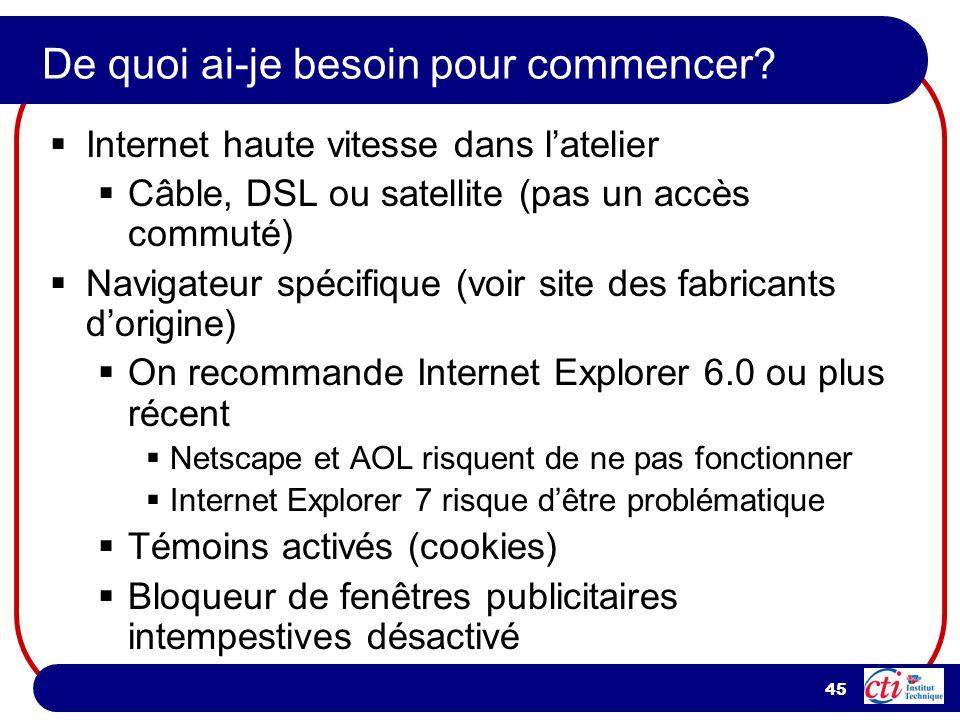 45 De quoi ai-je besoin pour commencer? Internet haute vitesse dans latelier Câble, DSL ou satellite (pas un accès commuté) Navigateur spécifique (voi