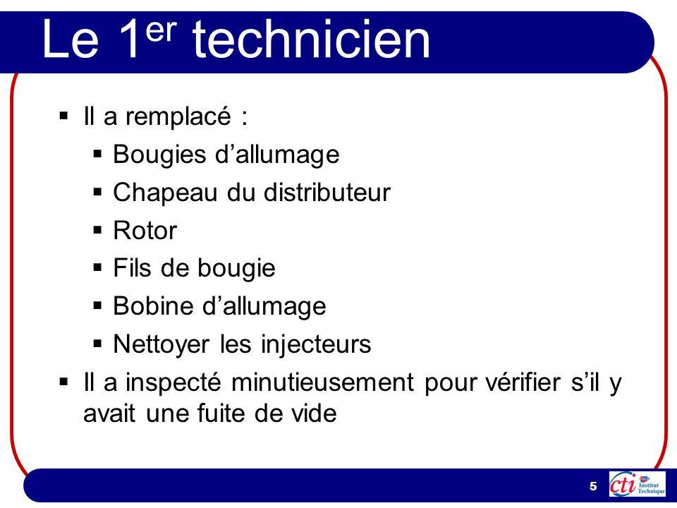 5 Le 1 er technicien Il a remplacé : Bougies dallumage Chapeau du distributeur Rotor Fils de bougie Bobine dallumage Nettoyer les injecteurs Il a insp
