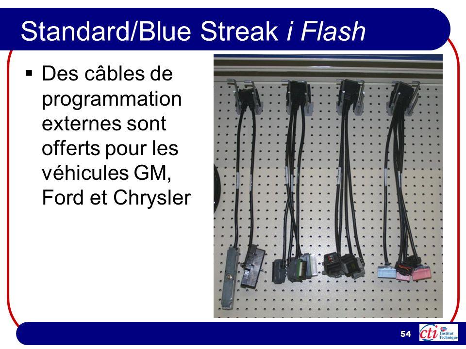 54 Standard/Blue Streak i Flash Des câbles de programmation externes sont offerts pour les véhicules GM, Ford et Chrysler