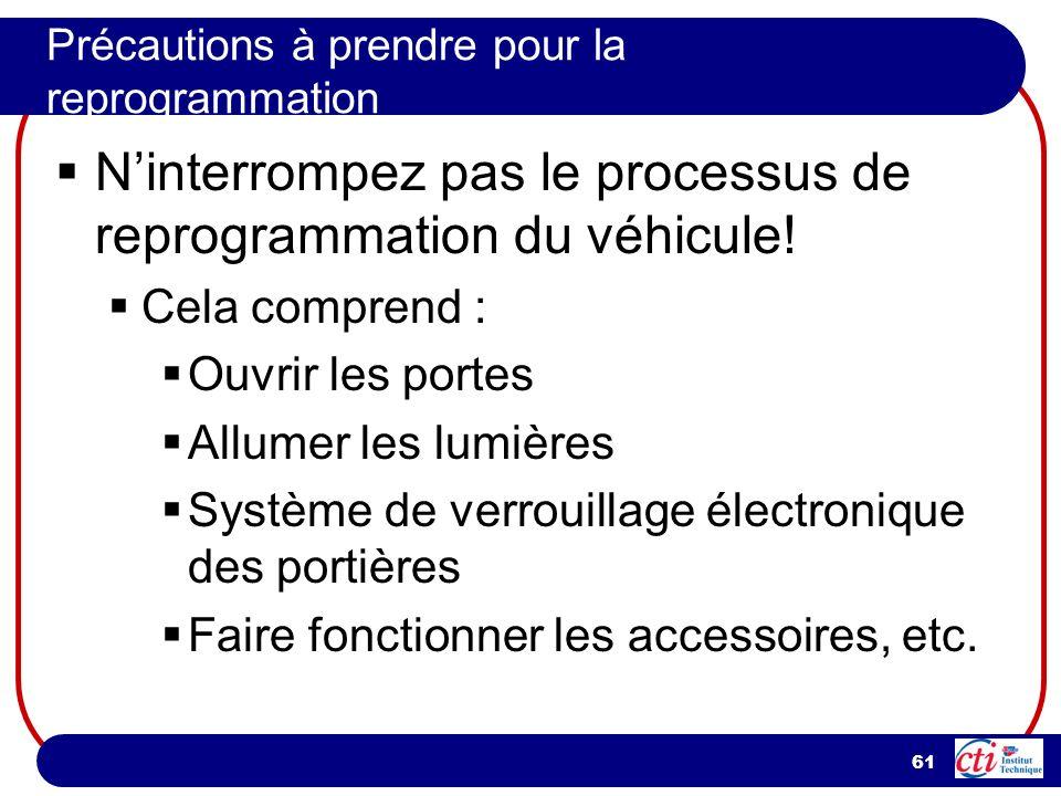 61 Précautions à prendre pour la reprogrammation Ninterrompez pas le processus de reprogrammation du véhicule! Cela comprend : Ouvrir les portes Allum