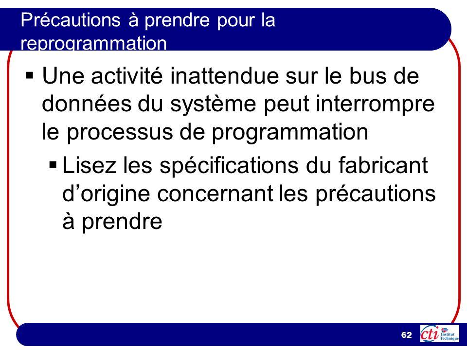 62 Précautions à prendre pour la reprogrammation Une activité inattendue sur le bus de données du système peut interrompre le processus de programmati