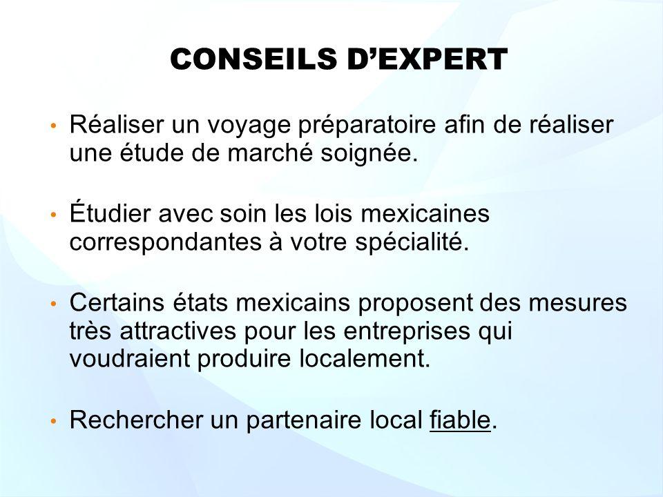CONSEILS DEXPERT Réaliser un voyage préparatoire afin de réaliser une étude de marché soignée.
