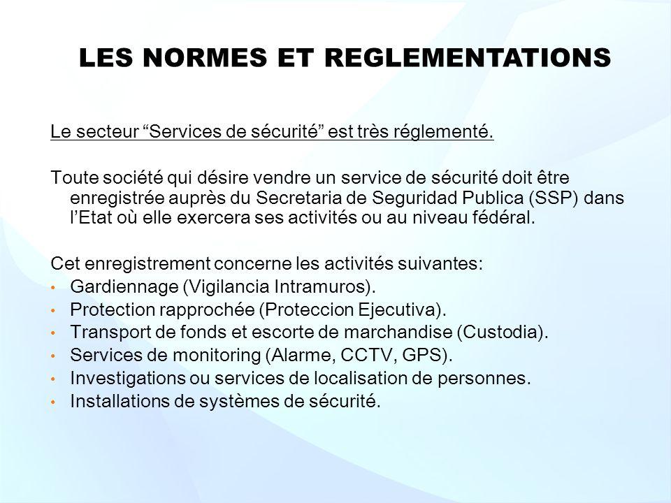 LES NORMES ET REGLEMENTATIONS Le secteur Services de sécurité est très réglementé.