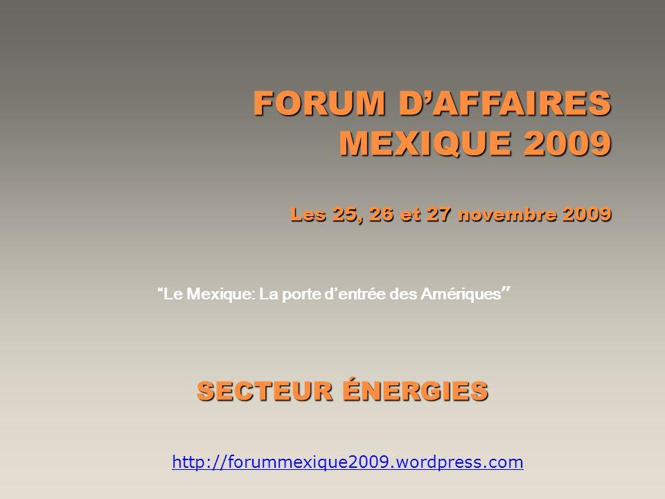 FORUM DAFFAIRES MEXIQUE 2009 Les 25, 26 et 27 novembre 2009 Le Mexique: La porte dentrée des Amériques SECTEUR ÉNERGIES http://forummexique2009.wordpr