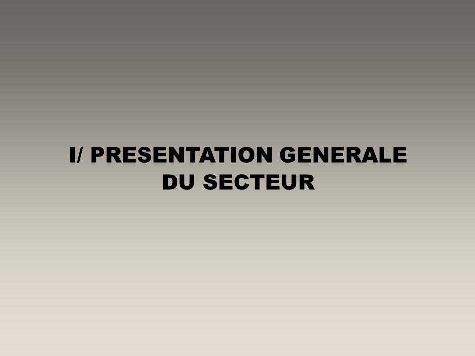 I/ PRESENTATION GENERALE DU SECTEUR