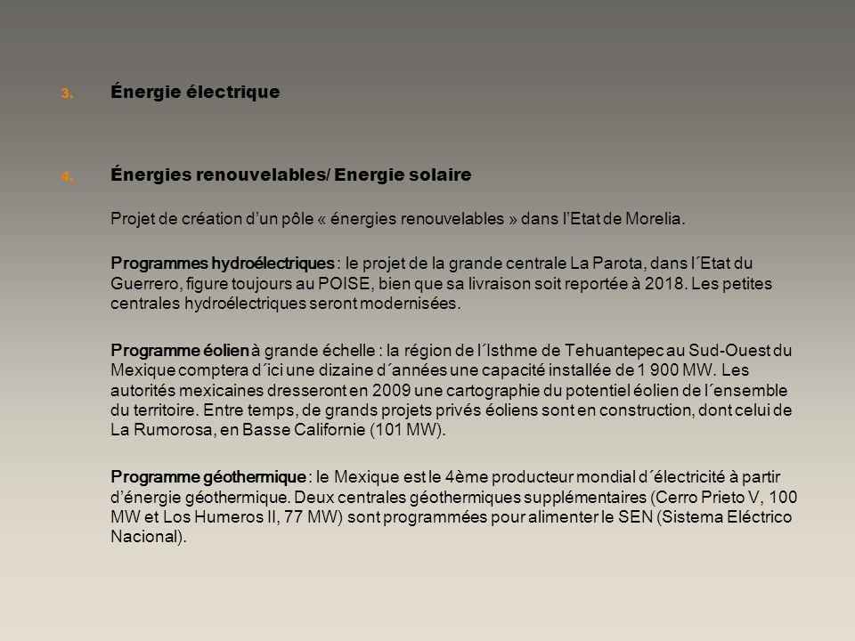 3. Énergie électrique 4. Énergies renouvelables/ Energie solaire Projet de création dun pôle « énergies renouvelables » dans lEtat de Morelia. Program