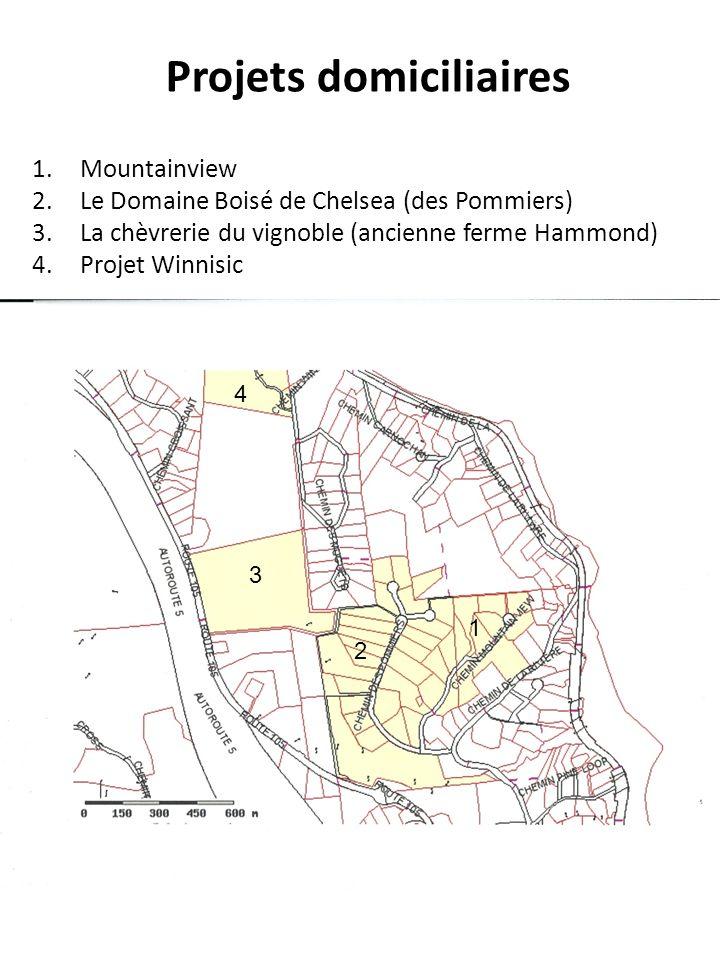 1.Mountainview 2.Le Domaine Boisé de Chelsea (des Pommiers) 3.La chèvrerie du vignoble (ancienne ferme Hammond) 4.Projet Winnisic Projets domiciliaire