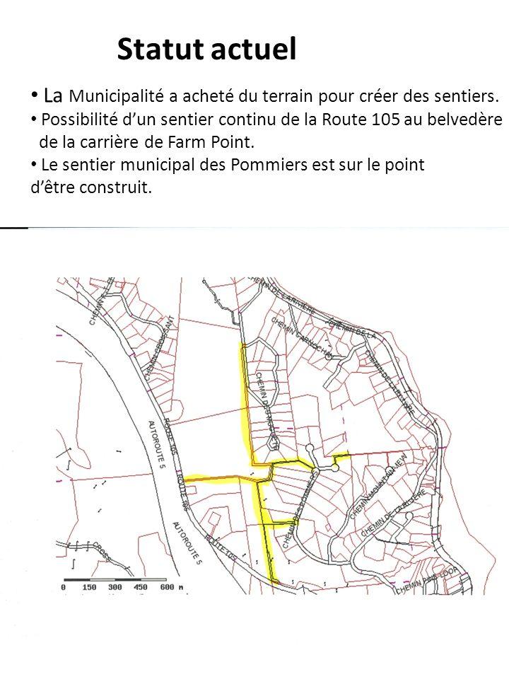 Statut actuel La Municipalité a acheté du terrain pour créer des sentiers. Possibilité dun sentier continu de la Route 105 au belvedère de la carrière