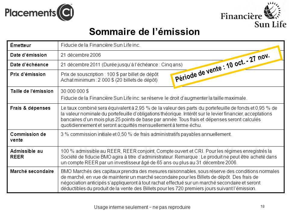 Usage interne seulement ne pas reproduire 18 Sommaire de lémission ÉmetteurFiducie de la Financière Sun Life inc. Date démission21 décembre 2006 Date