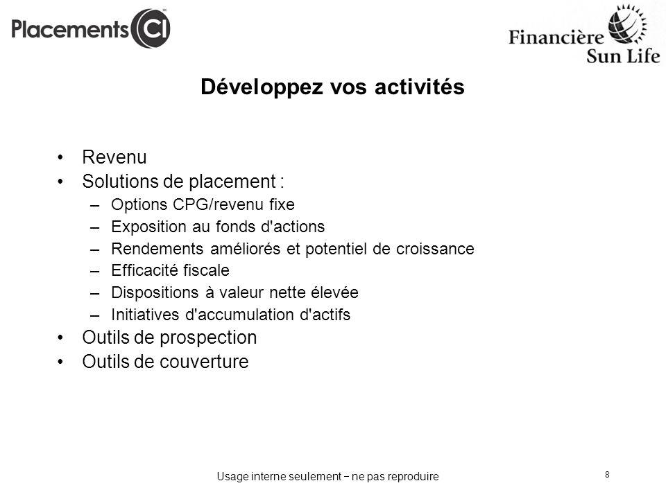 Usage interne seulement ne pas reproduire 8 Développez vos activités Revenu Solutions de placement : –Options CPG/revenu fixe –Exposition au fonds d'a
