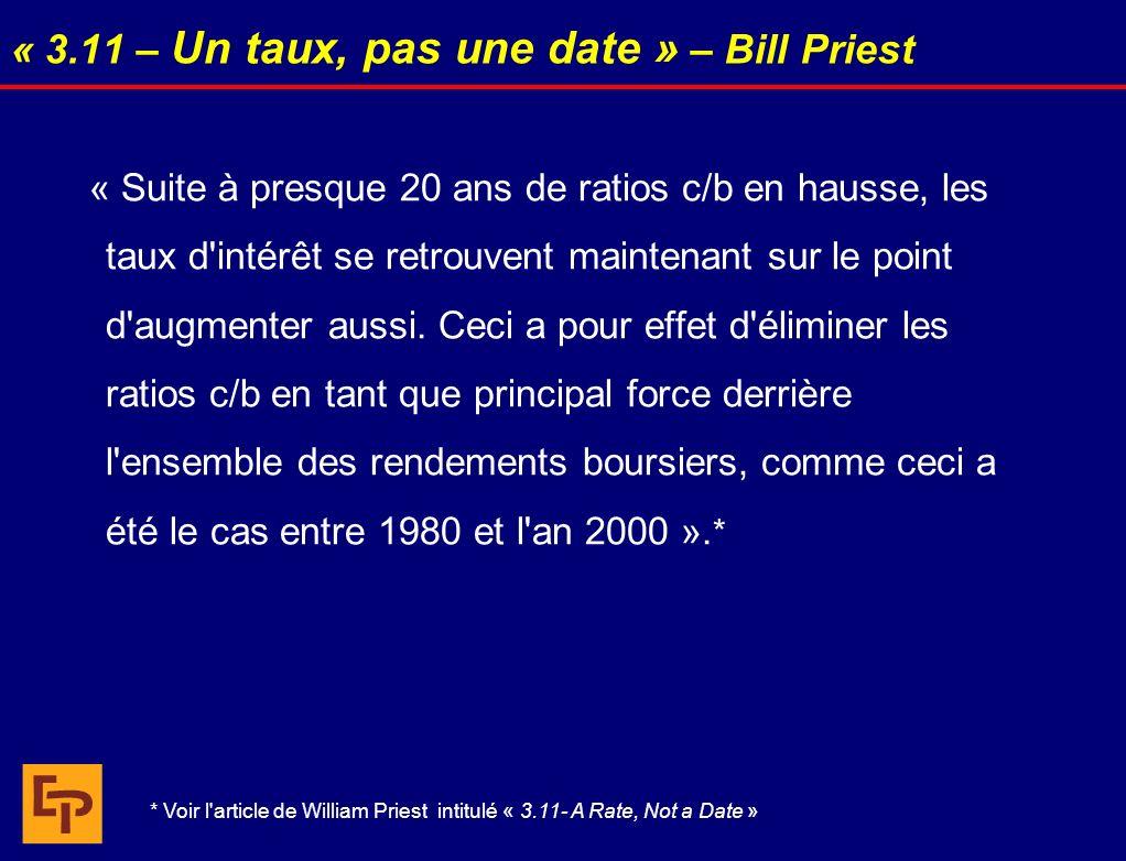 « 3.11 – Un taux, pas une date » – Bill Priest « Suite à presque 20 ans de ratios c/b en hausse, les taux d'intérêt se retrouvent maintenant sur le po