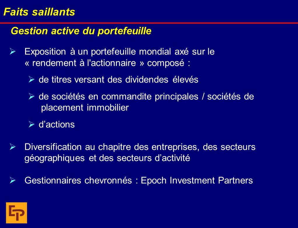 Gestion active du portefeuille Exposition à un portefeuille mondial axé sur le « rendement à l'actionnaire » composé : de titres versant des dividende