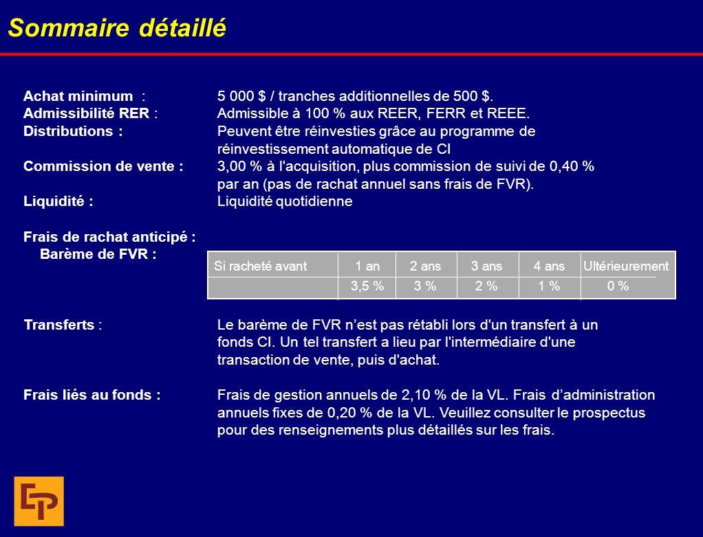 Sommaire détaillé Achat minimum : 5 000 $ / tranches additionnelles de 500 $. Admissibilité RER : Admissible à 100 % aux REER, FERR et REEE. Distribut