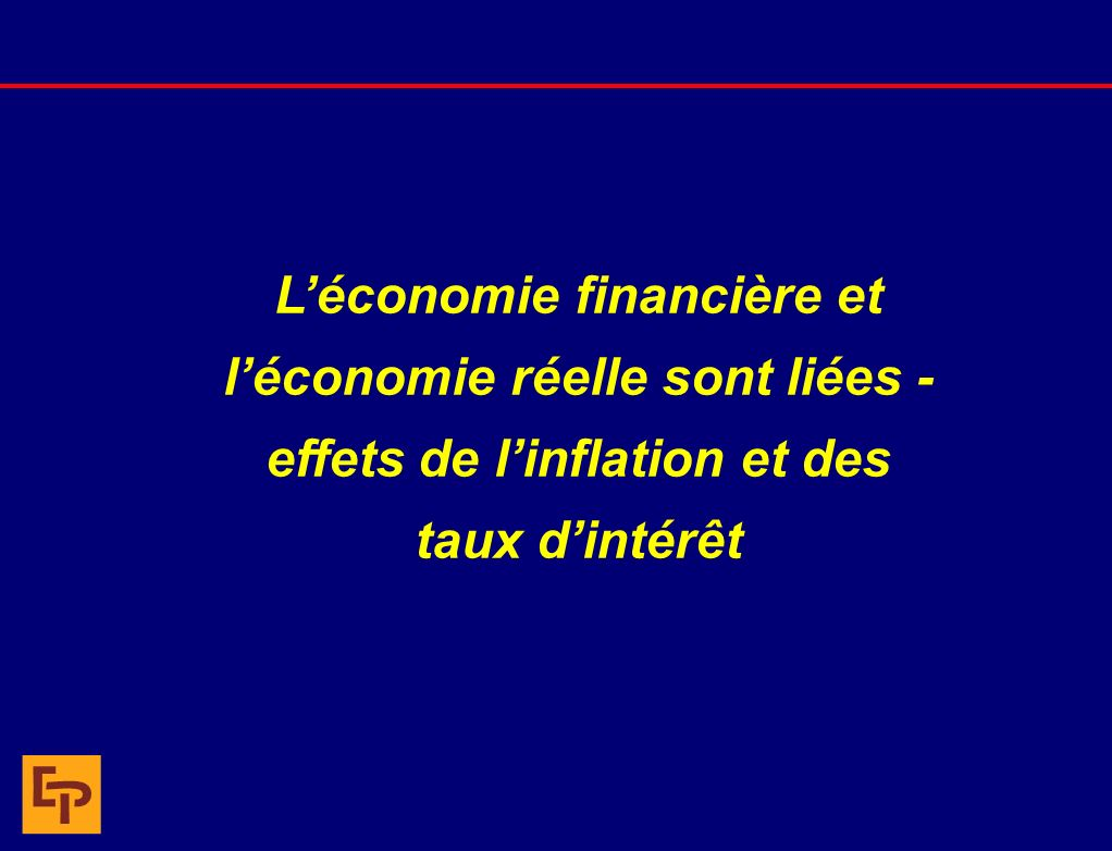Économie réelle et économie financière : Connected PIB réel Inflation Niveau du marché boursier Ratio C/B BPA PIB nominal + = Économie réelleÉconomie financière x