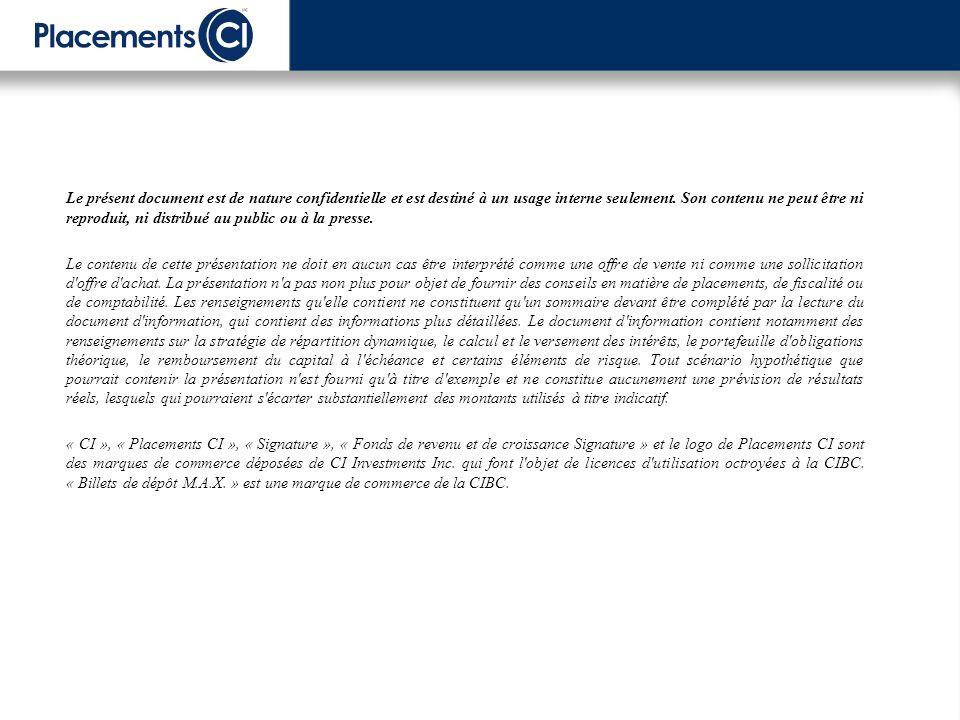 Le présent document est de nature confidentielle et est destiné à un usage interne seulement.