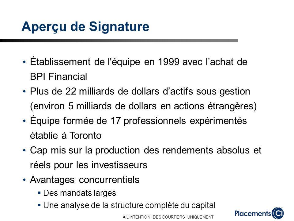 À LINTENTION DES COURTIERS UNIQUEMENT Aperçu de Signature Établissement de l'équipe en 1999 avec lachat de BPI Financial Plus de 22 milliards de dolla