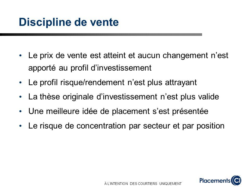 À LINTENTION DES COURTIERS UNIQUEMENT Discipline de vente Le prix de vente est atteint et aucun changement nest apporté au profil dinvestissement Le p