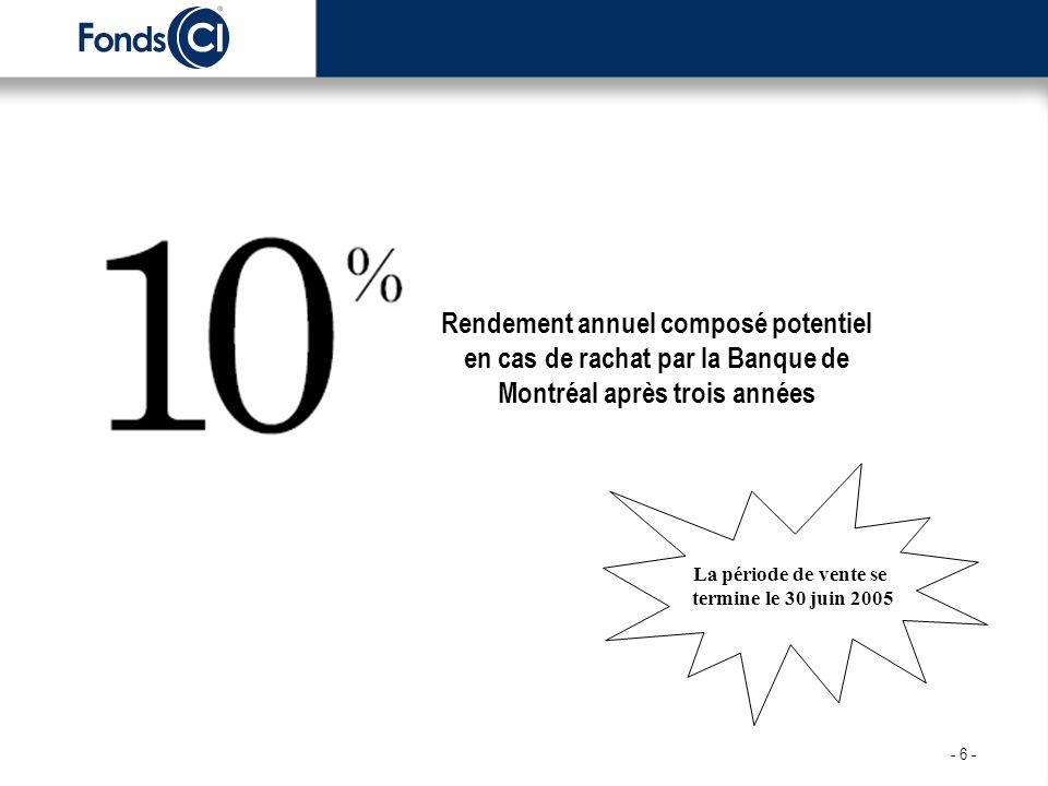 La période de vente se termine le 30 juin 2005 Rendement annuel composé potentiel en cas de rachat par la Banque de Montréal après trois années - 6 -