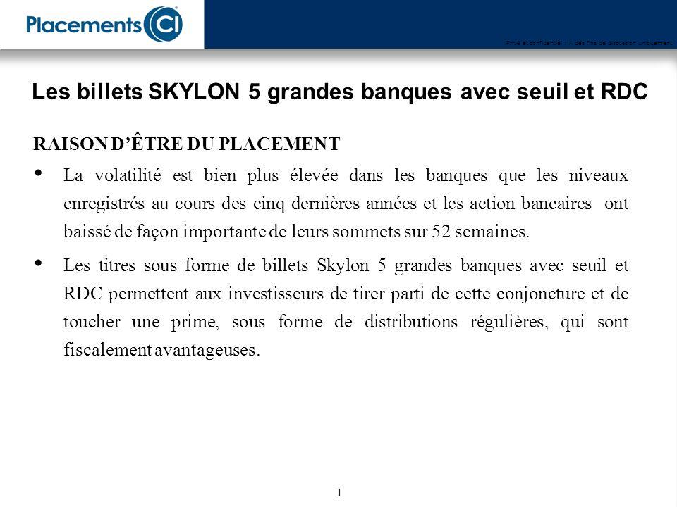 Disponibles entre le 20 août et le 30 septembre 2008 Les titres sous forme de billets Skylon 5 grandes banques avec seuil et RDC
