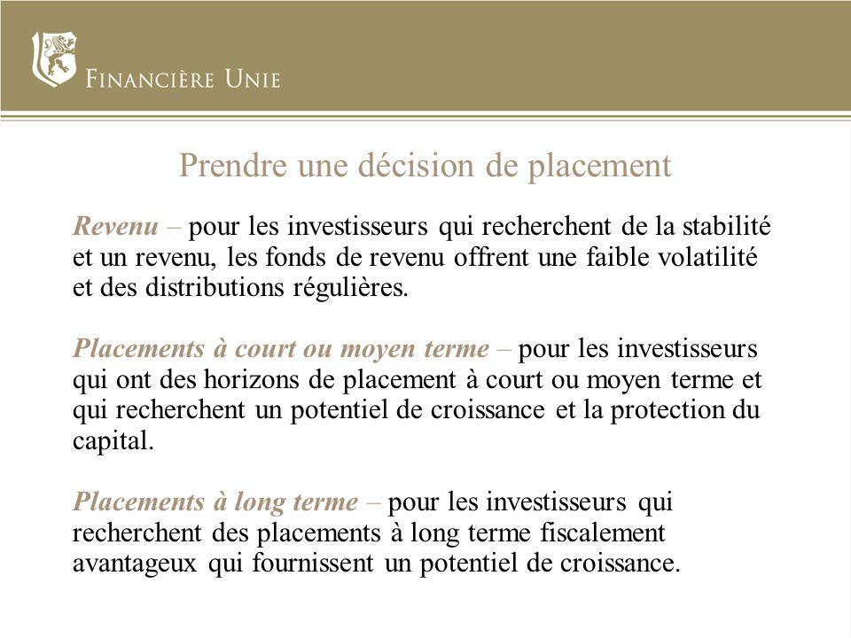 Prendre une décision de placement Revenu – pour les investisseurs qui recherchent de la stabilité et un revenu, les fonds de revenu offrent une faible volatilité et des distributions régulières.