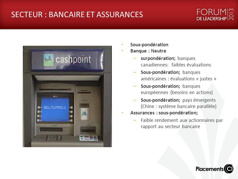 SECTEUR : BANCAIRE ET ASSURANCES Sous-pondération Banque : Neutre – surpondération; banques canadiennes: faibles évaluations – Sous-pondération; banqu