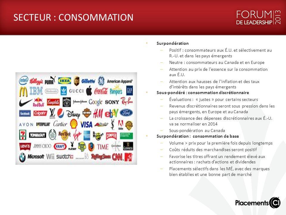 SECTEUR : CONSOMMATION Surpondération – Positif : consommateurs aux É.U. et sélectivement au R.-U. et dans les pays émergents – Neutre : consommateurs