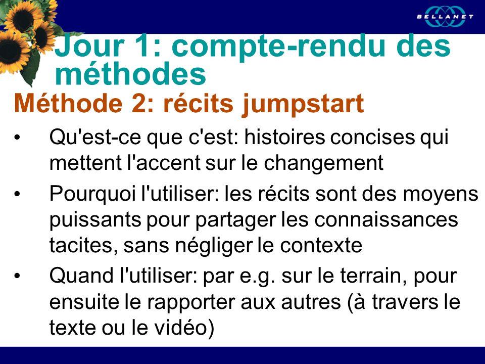 Jour 1: compte-rendu des méthodes Méthode 2: récits jumpstart Qu'est-ce que c'est: histoires concises qui mettent l'accent sur le changement Pourquoi
