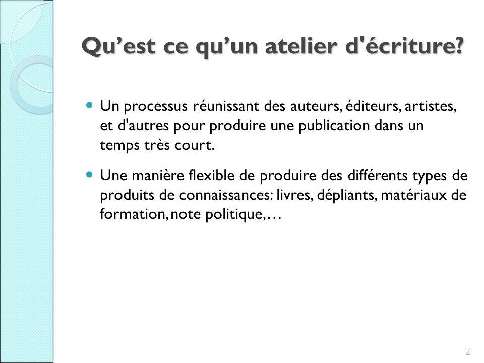 Writeshop Methodology Review,7-9 July 2010, IIRR, Silang Pourquoi un atelier d écriture.