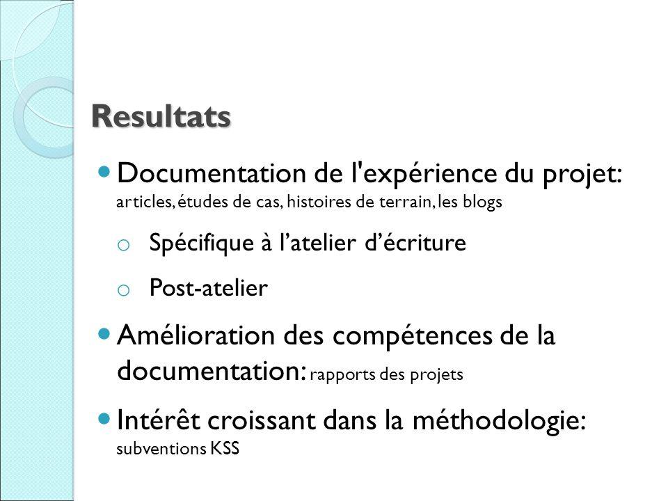 Resultats Documentation de l'expérience du projet: articles, études de cas, histoires de terrain, les blogs o Spécifique à latelier décriture o Post-a