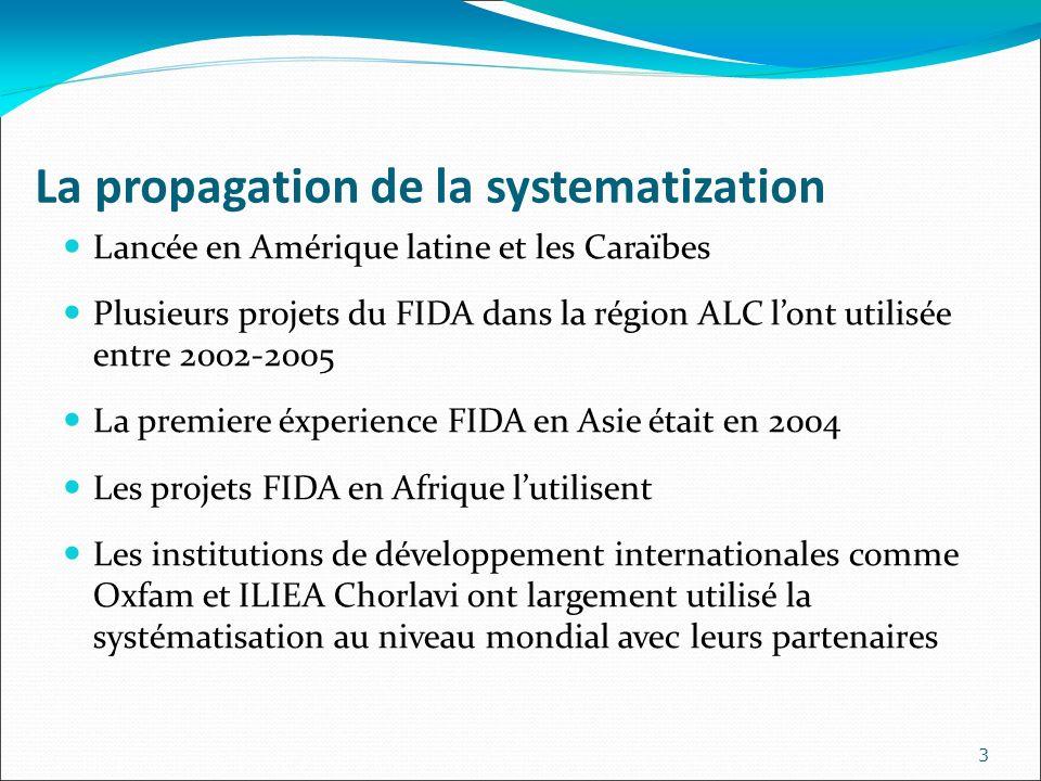 La propagation de la systematization Lancée en Amérique latine et les Caraïbes Plusieurs projets du FIDA dans la région ALC lont utilisée entre 2002-2005 La premiere éxperience FIDA en Asie était en 2004 Les projets FIDA en Afrique lutilisent Les institutions de développement internationales comme Oxfam et ILIEA Chorlavi ont largement utilisé la systématisation au niveau mondial avec leurs partenaires 3