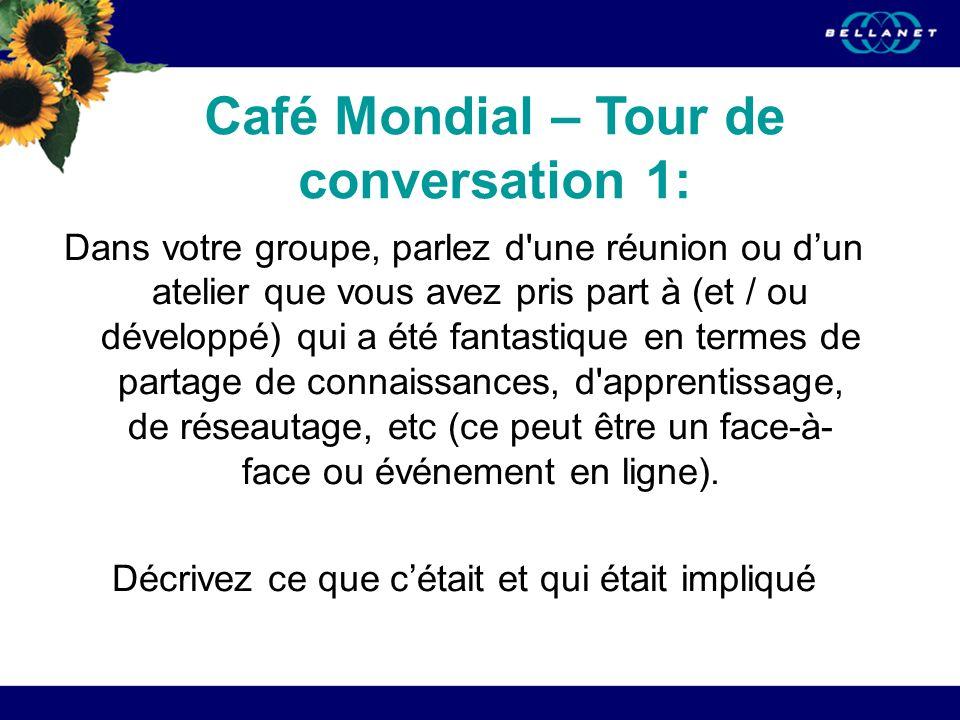 Café Mondial – Tour de conversation 1: Dans votre groupe, parlez d une réunion ou dun atelier que vous avez pris part à (et / ou développé) qui a été fantastique en termes de partage de connaissances, d apprentissage, de réseautage, etc (ce peut être un face-à- face ou événement en ligne).
