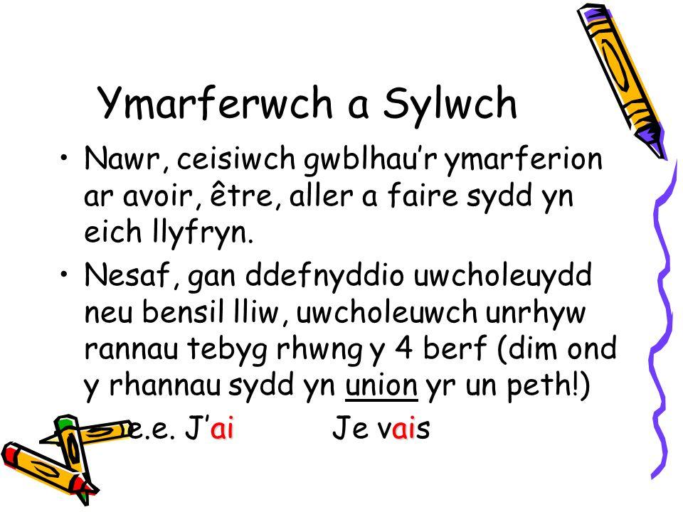 Ymarferwch a Sylwch Nawr, ceisiwch gwblhaur ymarferion ar avoir, être, aller a faire sydd yn eich llyfryn.